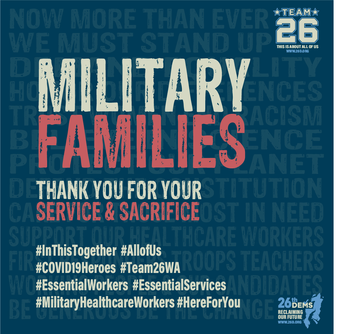 MILITARY FAMILIES Thank you for your service and sacrifice Our military families deserve special appreciation in these dark and uncertain days. We see you in the states setting up emergency COVID19 hospitals and heeding the call for retired healthcare workers to return to service. We also see the National Guard doing their part in communities […]